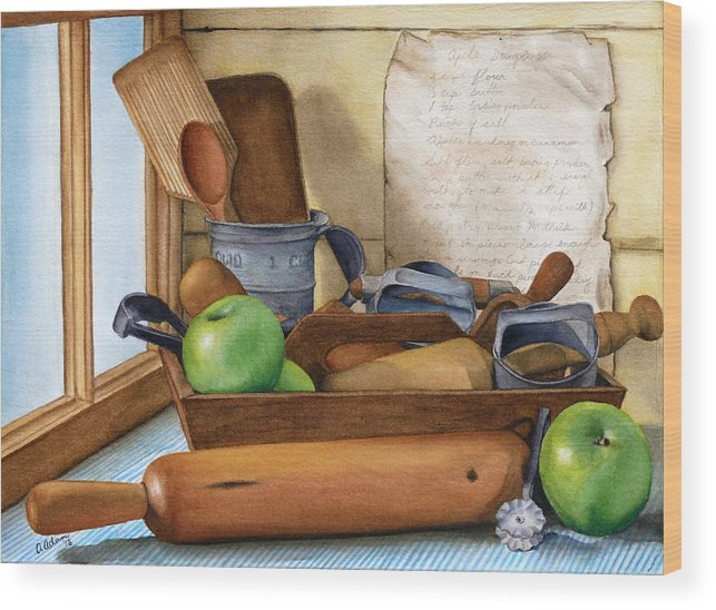 Antique Wood Print featuring the painting Grandma's Apple Dumplings by Angela Johnson