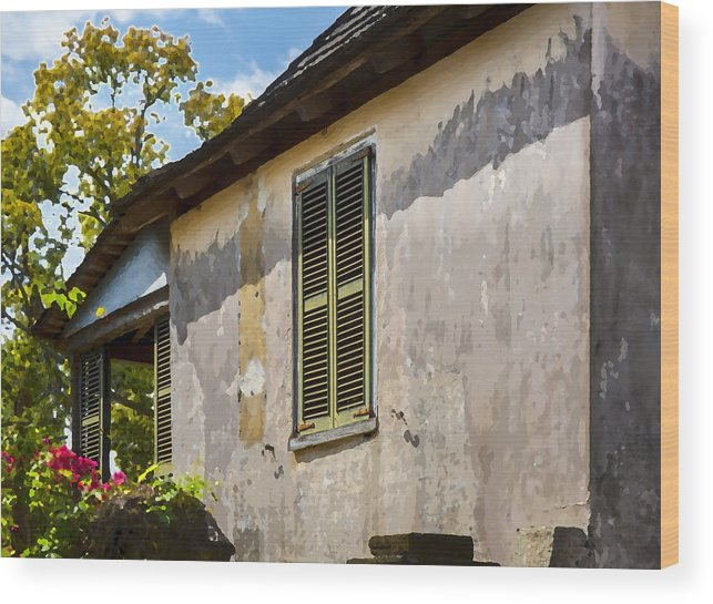 St. Augustine Wood Print featuring the photograph Green Shutters Stucco Walls2 by Rich Franco