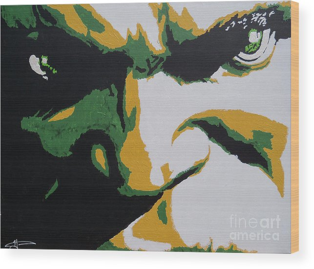 Incredible Wood Print featuring the painting Hulk - Incredibly Close by Kelly Hartman