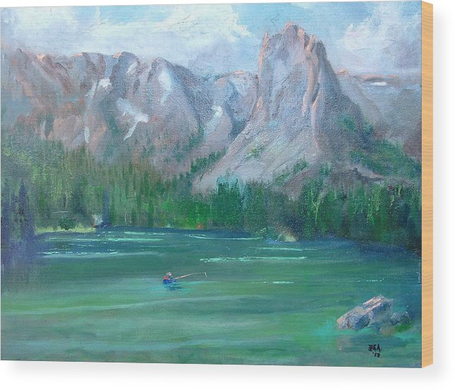 Landscape Wood Print featuring the painting Lake Mamie by Bryan Alexander