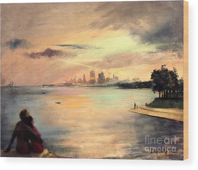 Lake.michigan Wood Print featuring the painting Lake Michigan Chicago Skyline 1952 by Art By Tolpo Collection
