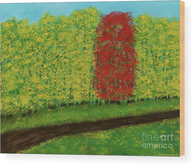 Landscape Wood Print featuring the painting Lone Maple Among The Ashes by Hillary Binder-Klein