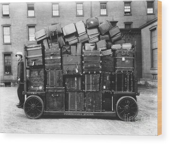 Human Wood Print featuring the photograph Luggage Cart At Train Station, 1910s by Hagley Archive