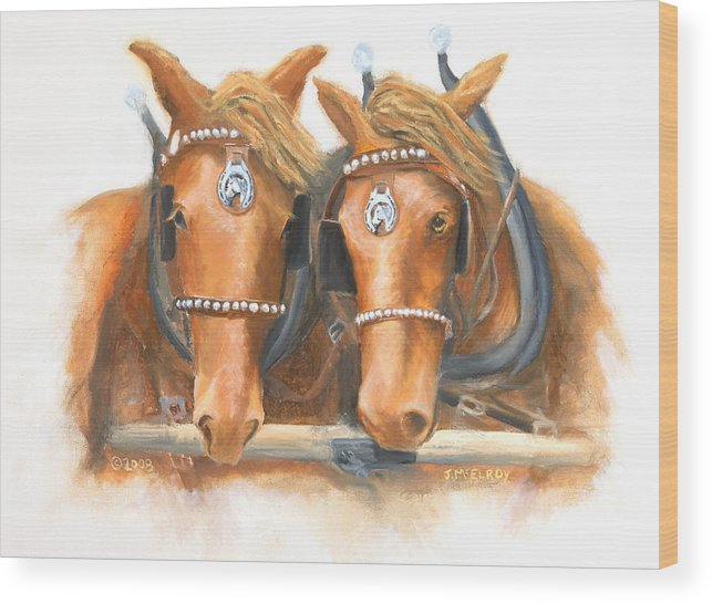 Horse Wood Print featuring the painting Mini And Jake by Jerry McElroy