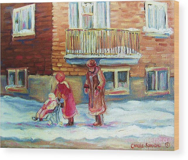 Montreal Wood Print featuring the painting Montreal Winter Scenes by Carole Spandau