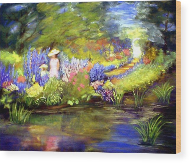 Flower Garden Wood Print featuring the painting Mother And Daughter by Gail Kirtz