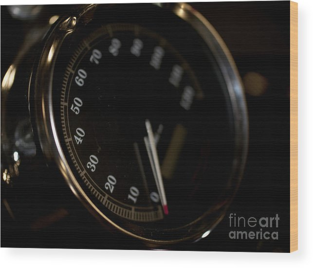 Odometer Wood Print featuring the photograph Motorcycle Speedometer by Wilma Birdwell