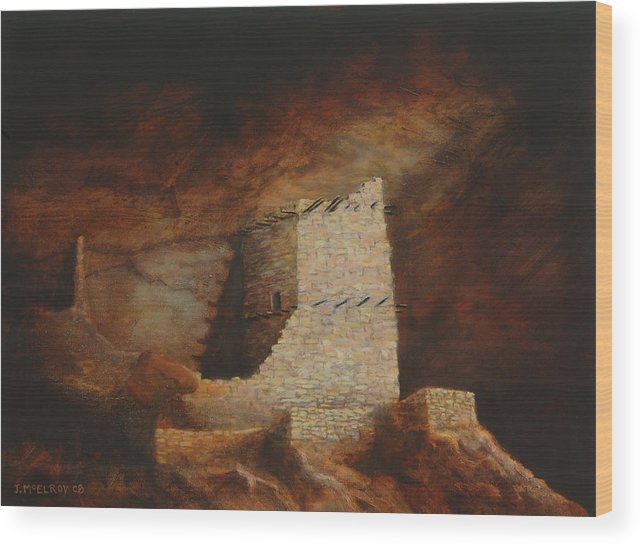 Anasazi Wood Print featuring the painting Mummy Cave by Jerry McElroy