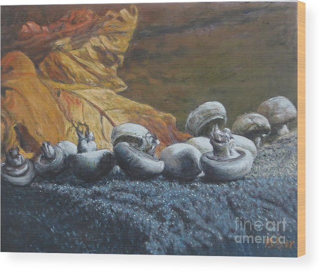 Mushroom Wood Print featuring the painting Mushrooms by Tierong Fu