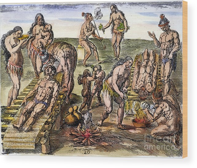 1591 Wood Print featuring the photograph Native Americans: Disease by Granger