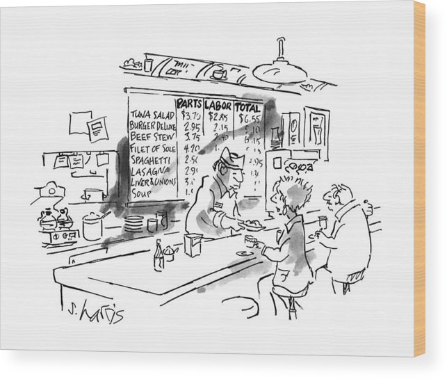 No Caption Items On Wall Menu Behind Diner Counter Are Divided Into Three Categories: Parts Wood Print featuring the drawing New Yorker August 21st, 1995 by Sidney Harris