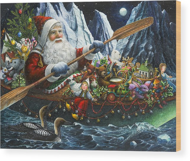 Santa Claus Wood Print featuring the painting Northern Passage by Lynn Bywaters