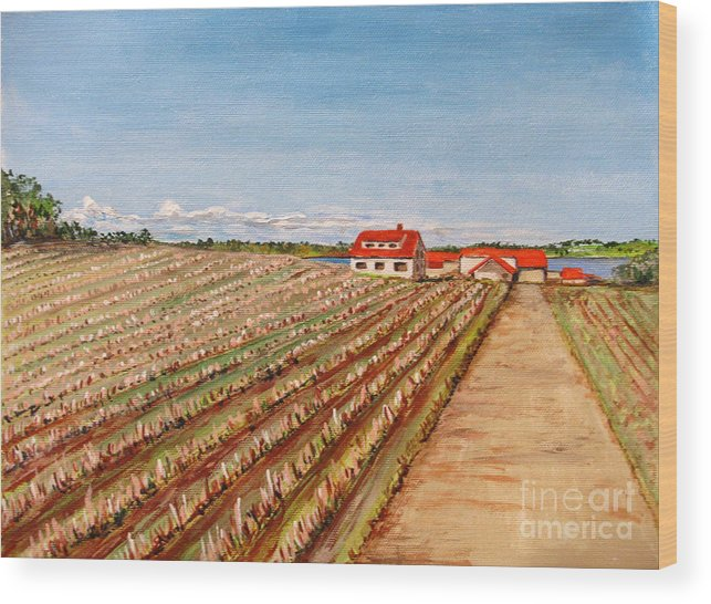 Landscape Wood Print featuring the painting Norway Farm by Nancie Johnson