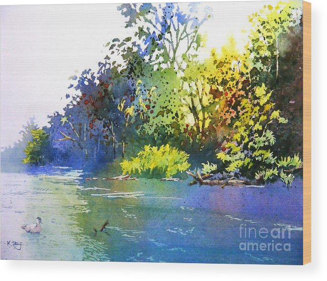 Hott Day Lakeview Wood Print featuring the painting On A Hot Day by Celine K Yong