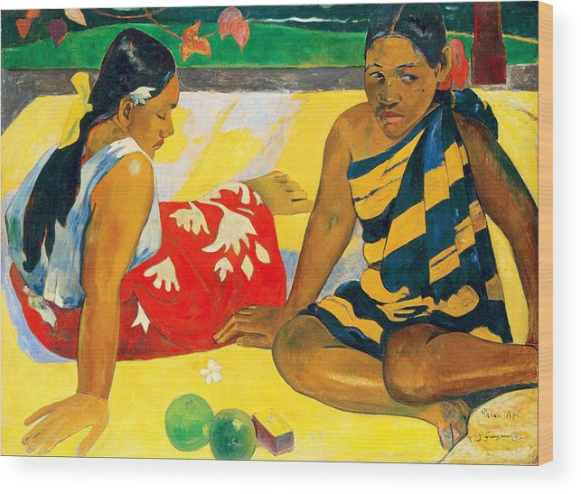 Paul Gauguin Wood Print featuring the painting Parau Api. What News by Paul Gauguin