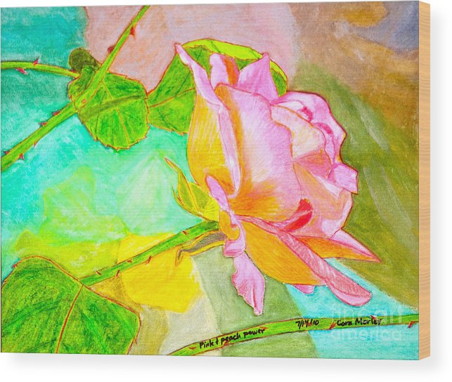 Abstract Wood Print featuring the painting Pink Peach Power by Cora Eklund