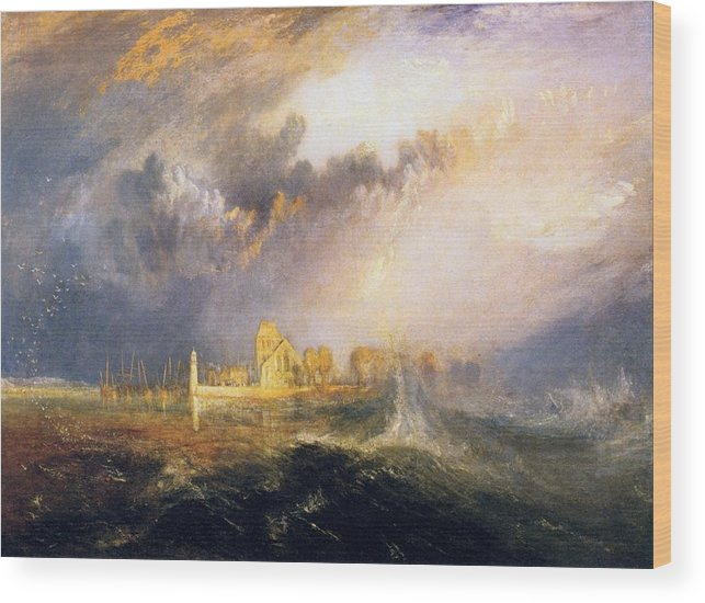 1833 Wood Print featuring the painting Quillebeuf - At The Mouth Of Seine by JMW Turner