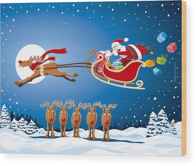 Reindeer Santa Sleigh Christmas Stunt Show Wood Print