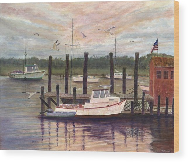Charleston; Boats; Fishing Dock; Water Wood Print featuring the painting Shem Creek by Ben Kiger
