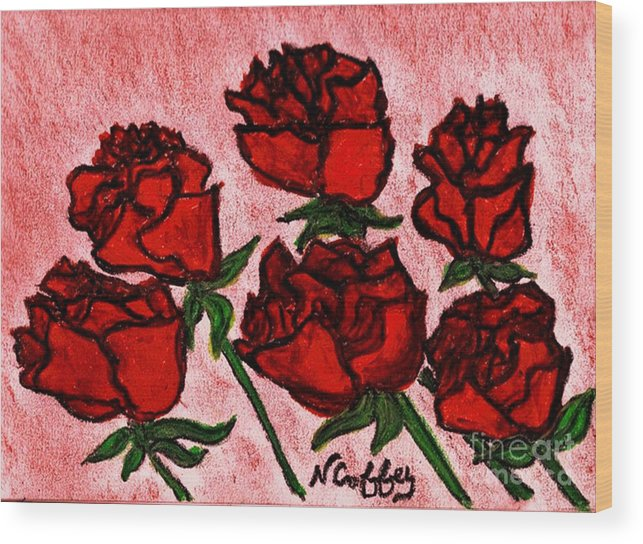 Roses Wood Print featuring the drawing Six Roses by Neil Stuart Coffey