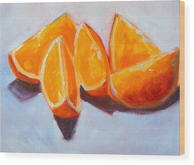 Citrus Wood Print featuring the painting Sliced by Nancy Merkle