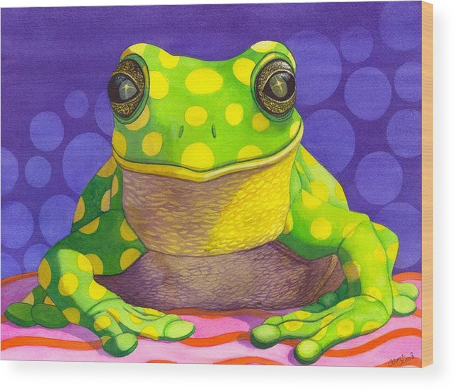 Frog Wood Print featuring the painting Spotted Frog by Catherine G McElroy
