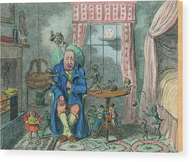 Cruikshank Wood Print featuring the drawing Sufferer Of Indigestion     Date by Mary Evans Picture Library