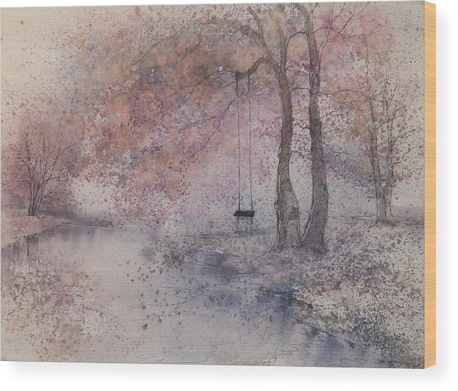 Beautiful Wood Print featuring the painting Swing In Tree by Anna Sandhu Ray