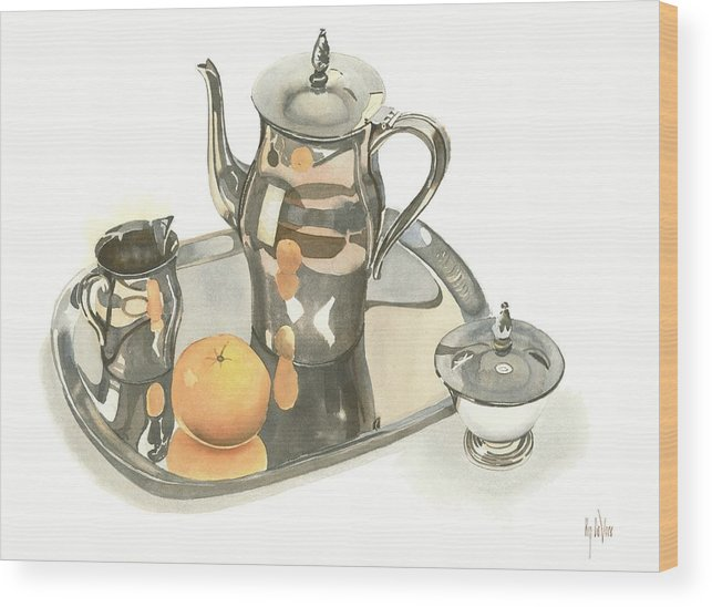 Tea Service With Orange Wood Print featuring the painting Tea Service With Orange by Kip DeVore