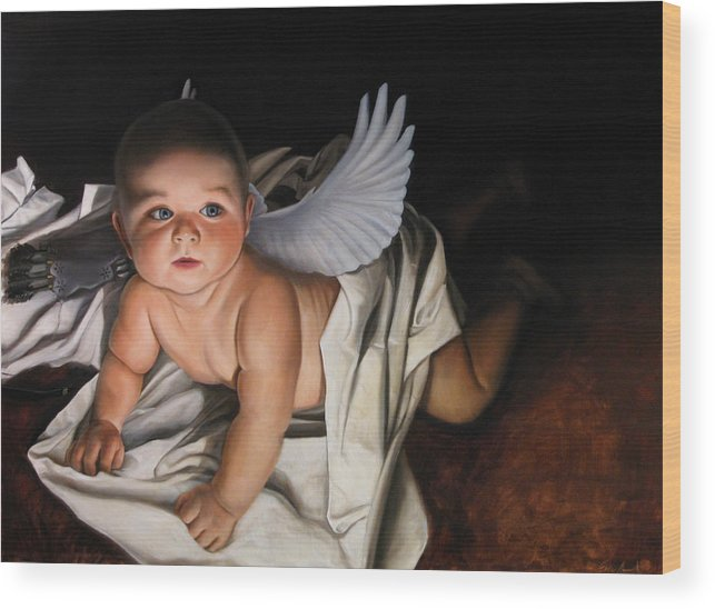 Angel Paintings Wood Print featuring the painting The Awakening Of Eros by Eric Armusik