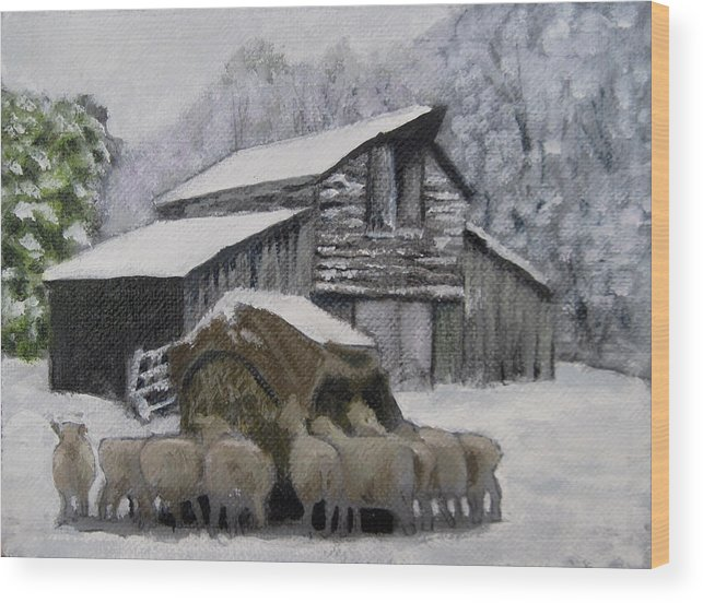 Landscape Painting Winter Farm Wood Print featuring the painting The Lunch Counter by David Zimmerman