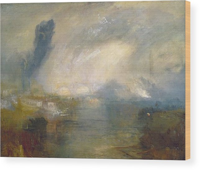 1830 Wood Print featuring the painting The Thames Above Waterloo Bridge by JMW Turner