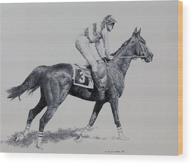 Racehorse Horse Horseracing Thorobreds Jockey Wood Print featuring the drawing To The Gate by Tony Ruggiero