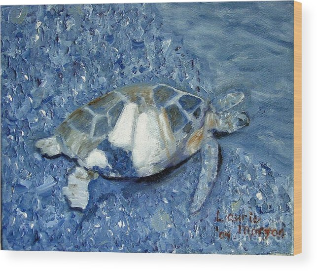 Turtle Wood Print featuring the painting Turtle On Black Sand Beach by Laurie Morgan