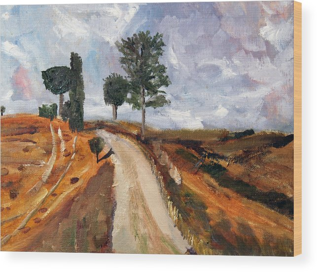 Italy Wood Print featuring the painting Tuscan Road by Michael Helfen