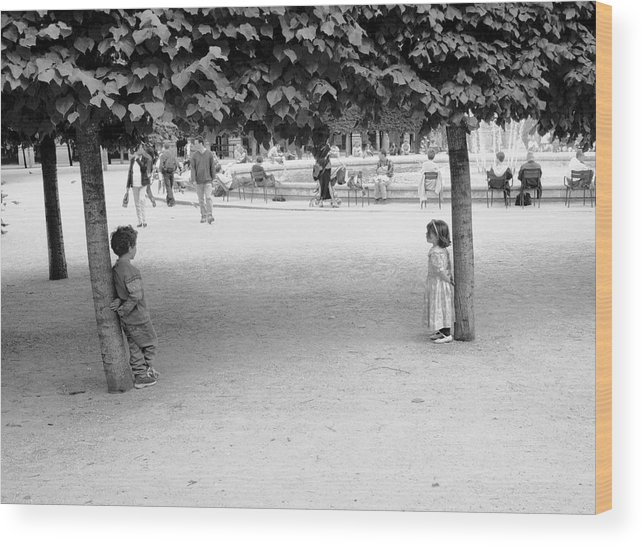 Dave Beckerman Wood Print featuring the photograph Two Kids In Paris by Dave Beckerman