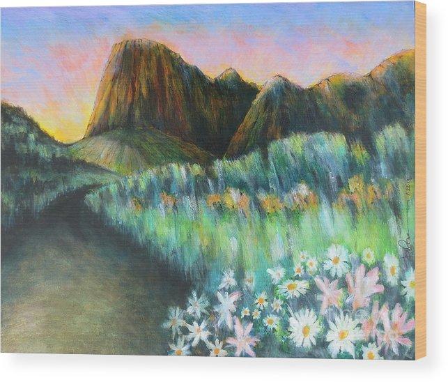 Utah. Capital Reef State Park At Sunset. Wood Print featuring the painting Utah Capital Reef Park by Robert Birkenes
