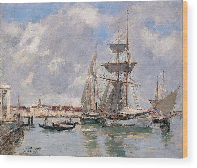 Eugene Boudin Wood Print featuring the painting Venice. The Grand Canal by Eugene Boudin