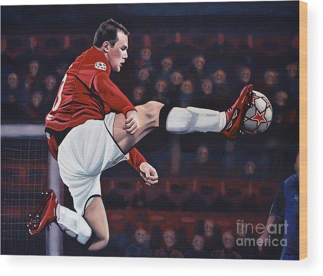 Wayne Rooney Wood Print featuring the painting Wayne Rooney by Paul Meijering