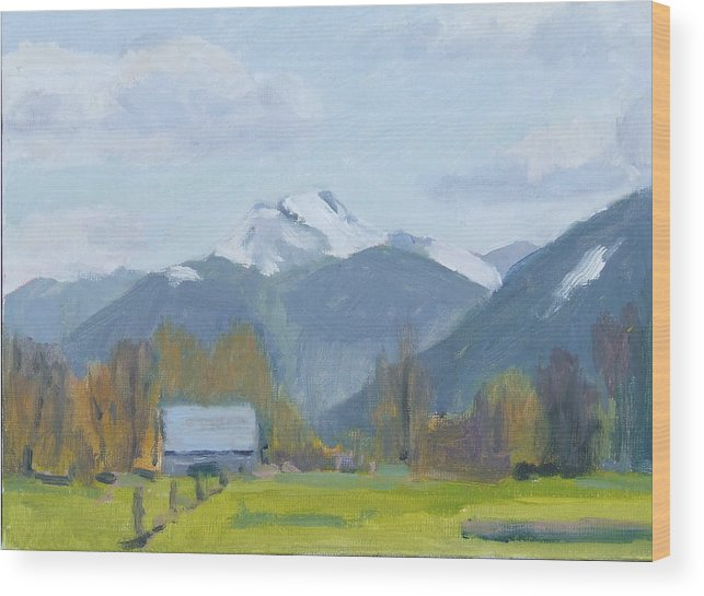Wood Print featuring the painting Whitehorse Mountain East Arlington by Raymond Kaler