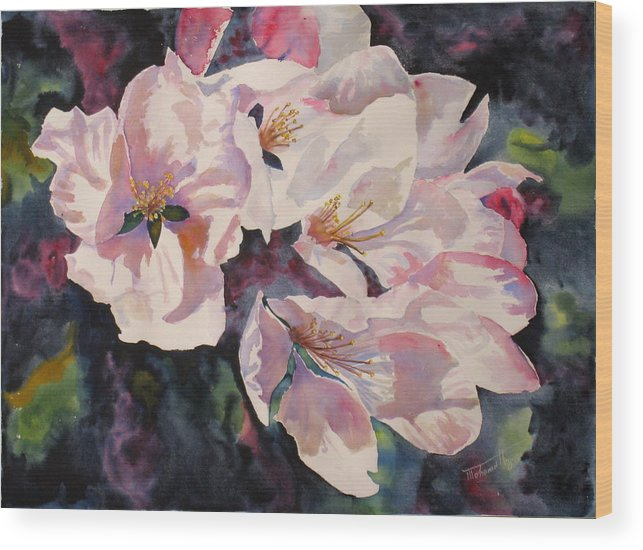 Flowers Wood Print featuring the painting Apple Blossoms by Mohamed Hirji