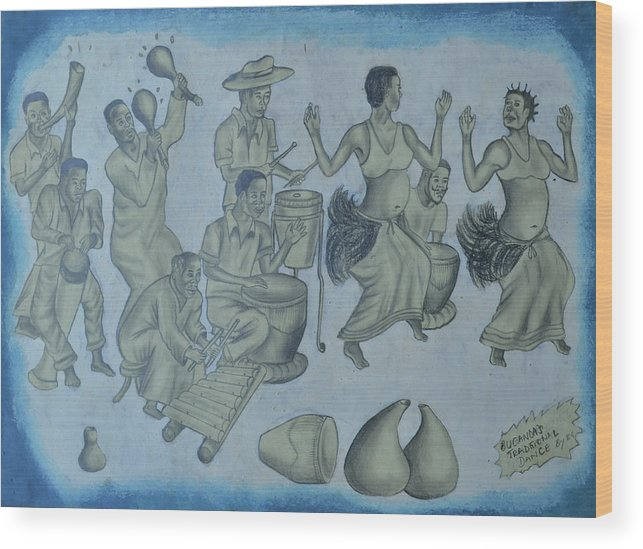Wood Print featuring the painting Buganda Musical by Ash Man