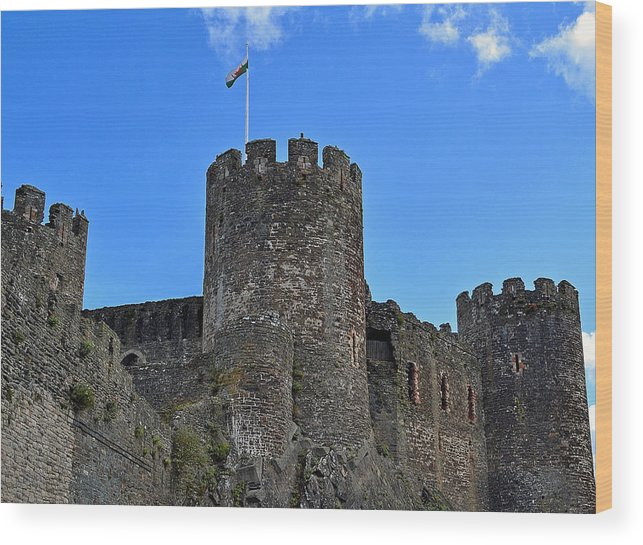 Conwy Castle Wood Print featuring the photograph Conwy Castle 01 by Steven Morris