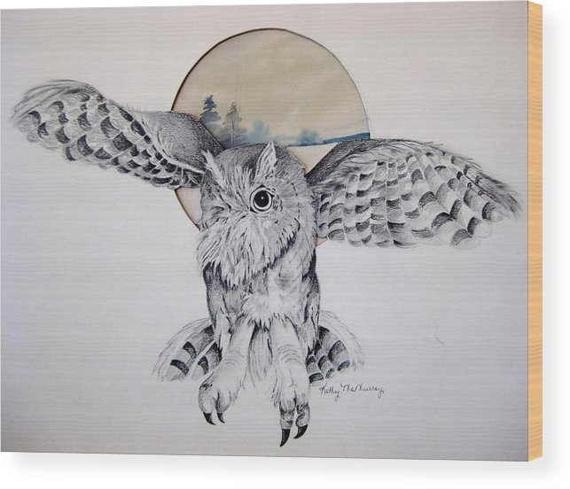 Owl Wood Print featuring the mixed media Distant Trees by Kathrine McMurray