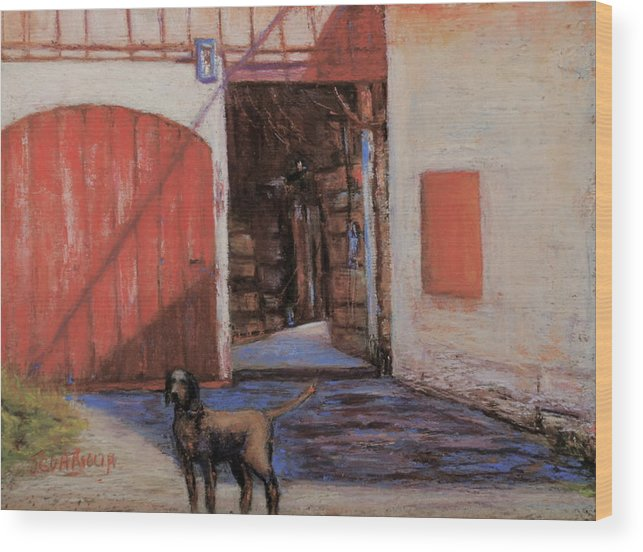 Dog Wood Print featuring the pastel Dog And Barn by Joyce A Guariglia