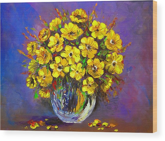 Yellow Flowers Wood Print featuring the painting Flower Are Yellow by Artist SinGh