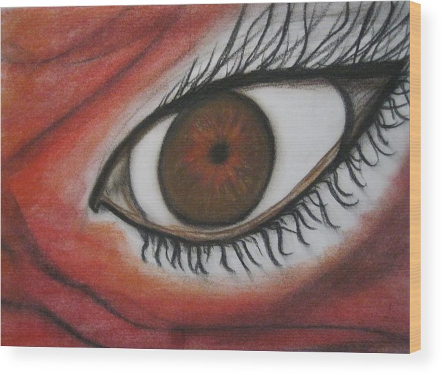 Eyes Wood Print featuring the pastel Intense by Tracy Fallstrom