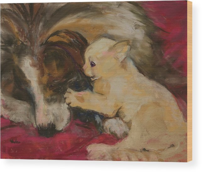 Cat Wood Print featuring the pastel Lady And The Kitten by Barbara Torke