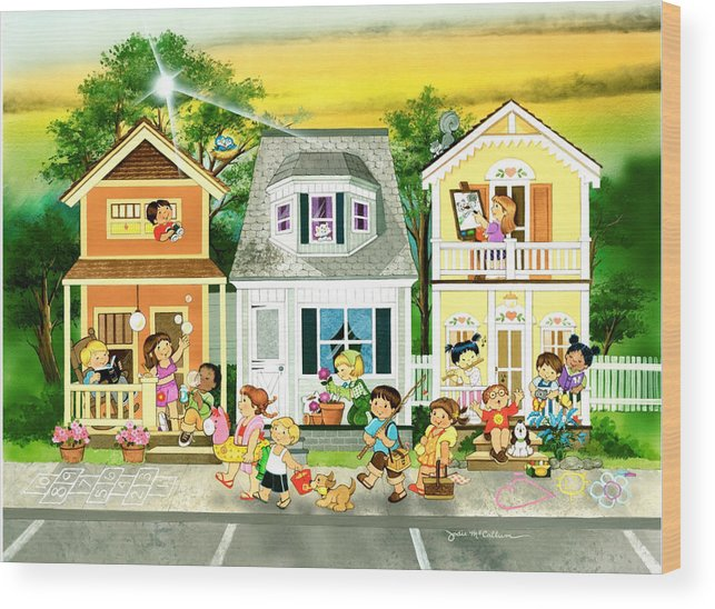 Kids Wood Print featuring the painting Lakeside Days End by Jodie McCallum