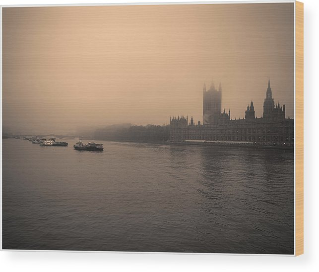Boat Wood Print featuring the photograph London Smog/fog by Lenny Carter